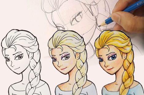 Drawing Elsa, easy tutorial