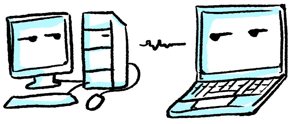 Illustrasi desktop vs laptop