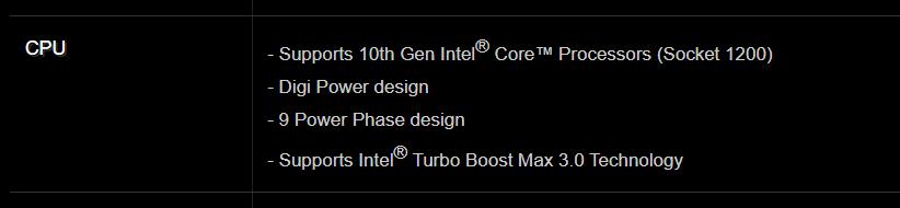 Spesifikasi CPU yang disupport motherboard
