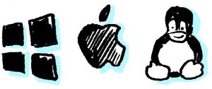 Windows, macOS dan Linux