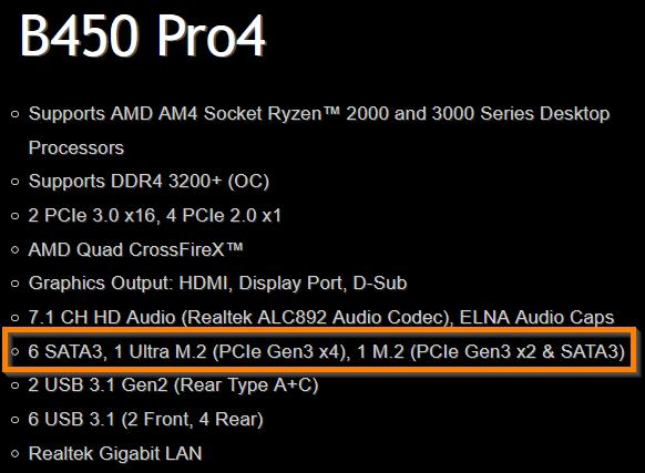 Contoh spesifikasi storage yang disupport motherboard