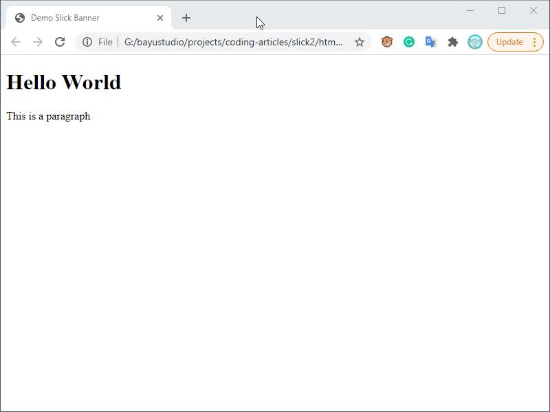 Tampilan file html awal pada browser