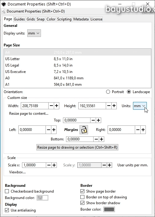 Document size in Inkscape